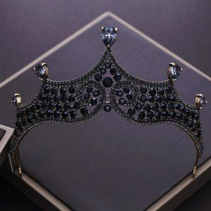 Accessories - Charcoal Black Rhinestone Bronze tone Tiara